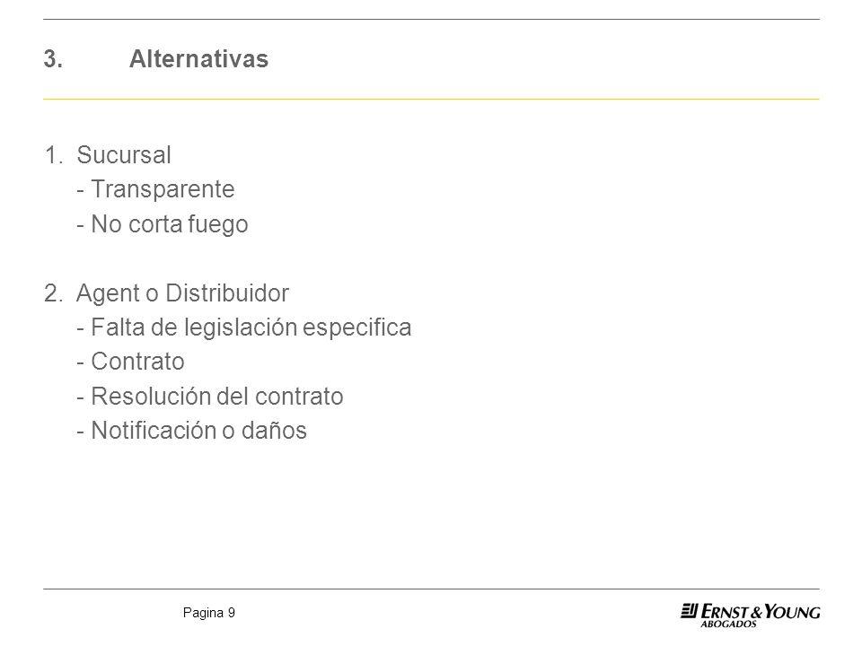 Pagina 9 3.Alternativas 1.Sucursal - Transparente - No corta fuego 2.Agent o Distribuidor - Falta de legislación especifica - Contrato - Resolución de