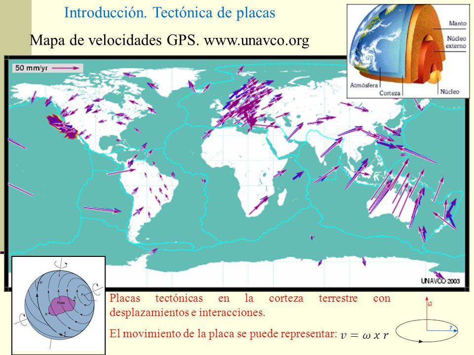 Mapa de velocidades GPS. www.unavco.org Placas tectónicas en la corteza terrestre con desplazamientos e interacciones. El movimiento de la placa se pu