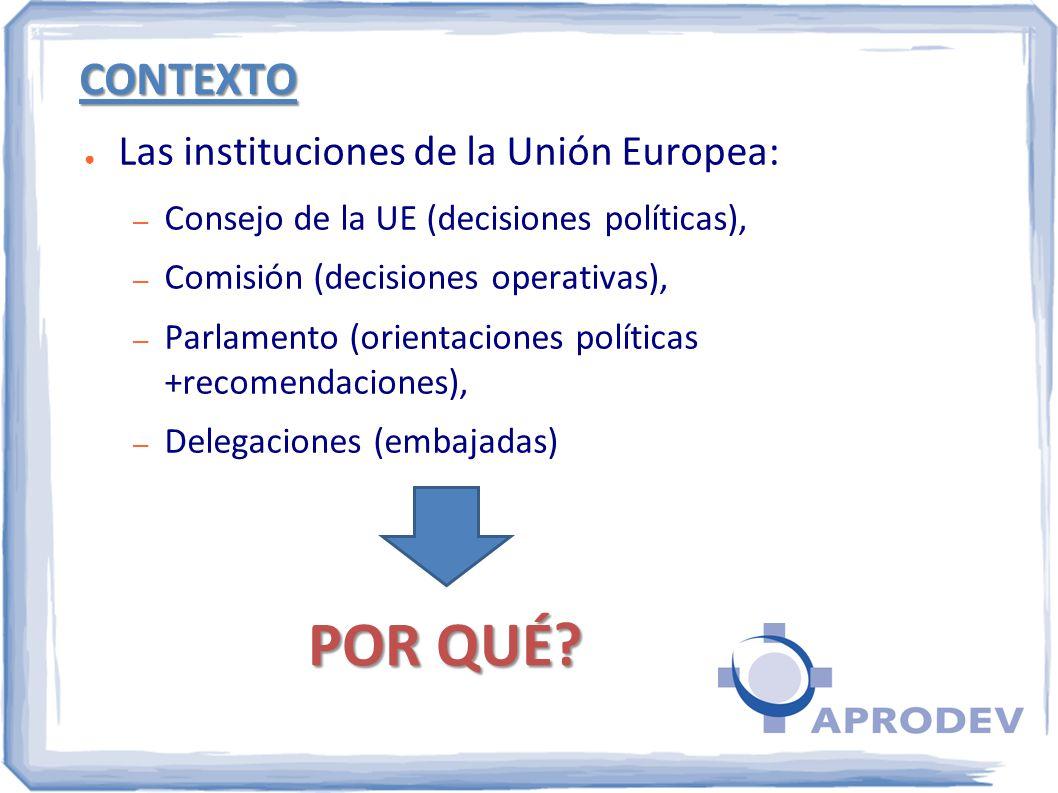 CONTEXTO Las instituciones de la Unión Europea: – Consejo de la UE (decisiones políticas), – Comisión (decisiones operativas), – Parlamento (orientaci