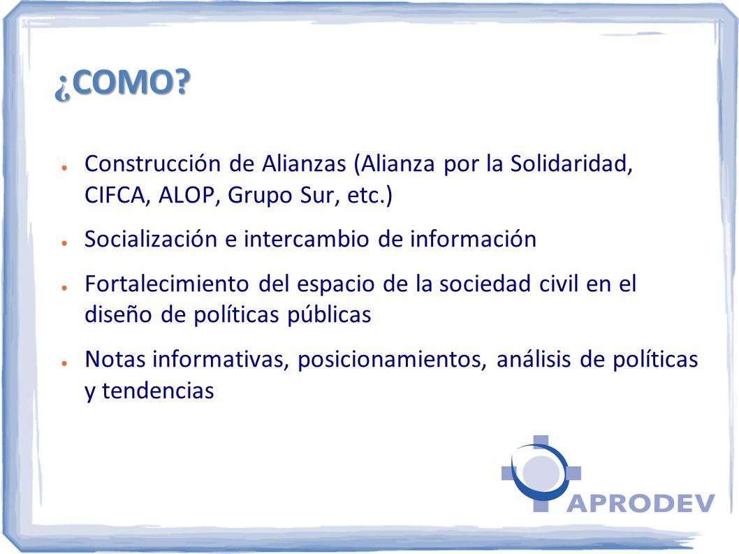 ¿ COMO? Construcción de Alianzas (Alianza por la Solidaridad, CIFCA, ALOP, Grupo Sur, etc.) Socialización e intercambio de información Fortalecimiento