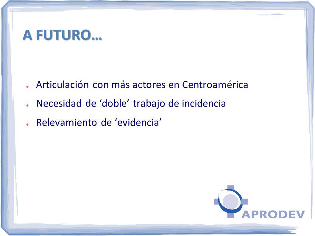 A FUTURO… Articulación con más actores en Centroamérica Necesidad de doble trabajo de incidencia Relevamiento de evidencia
