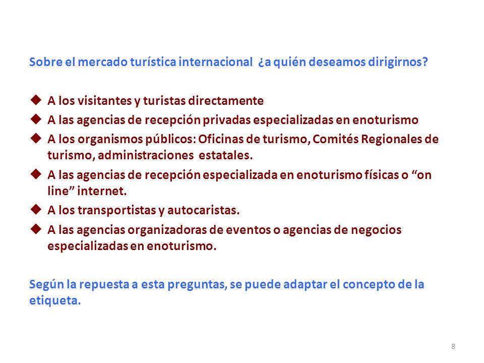 Sobre el mercado turística internacional ¿a quién deseamos dirigirnos? A los visitantes y turistas directamente A las agencias de recepción privadas e