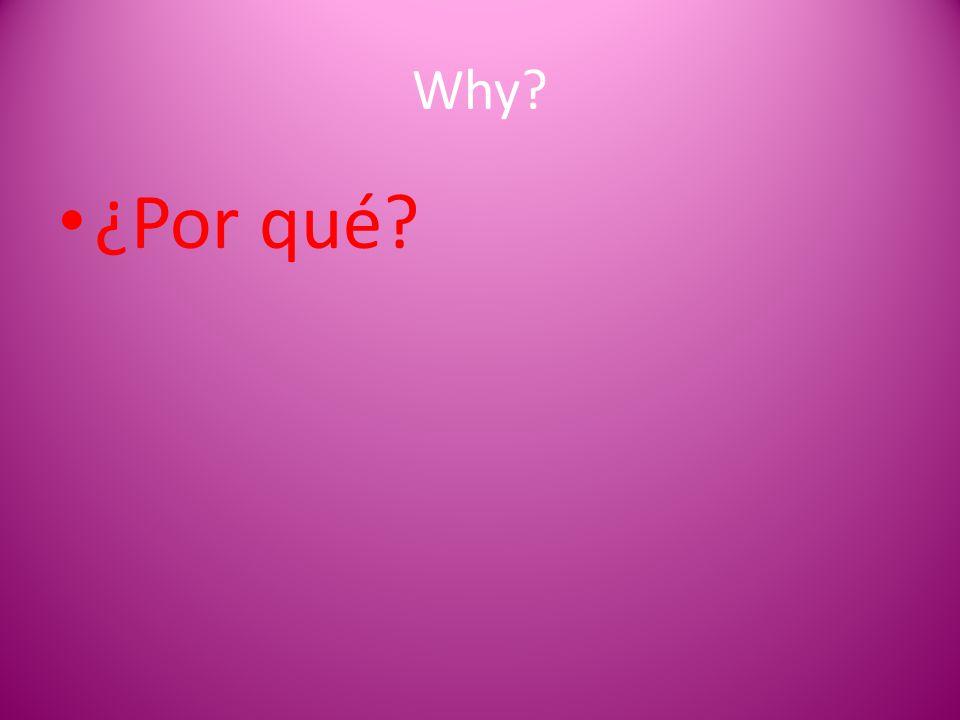 Why? ¿Por qué?