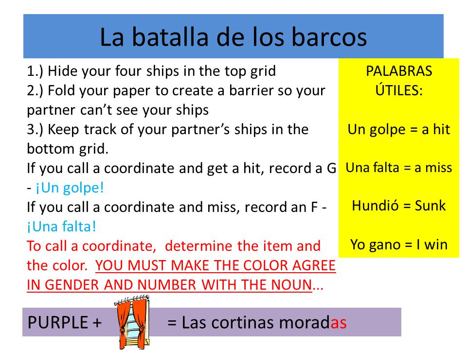 La batalla de los barcos 1.) Hide your four ships in the top grid 2.) Fold your paper to create a barrier so your partner cant see your ships 3.) Keep