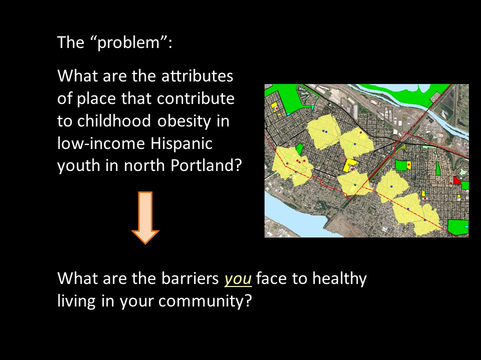 The problem: What are the attributes of place that contribute to childhood obesity in low-income Hispanic youth in north Portland.