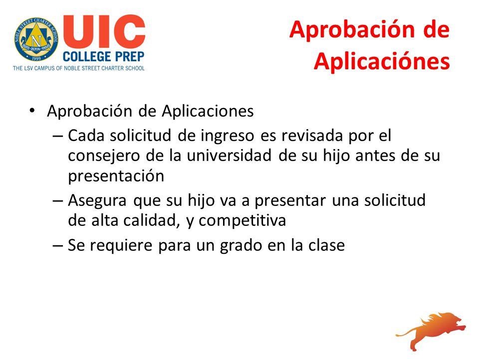 Aprobación de Aplicaciónes Aprobación de Aplicaciones – Cada solicitud de ingreso es revisada por el consejero de la universidad de su hijo antes de s