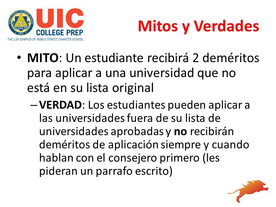 Mitos y Verdades MITO: Un estudiante recibirá 2 deméritos para aplicar a una universidad que no está en su lista original – VERDAD: Los estudiantes pu