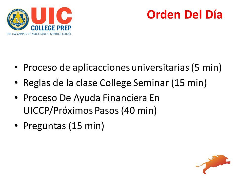 Orden Del Día Proceso de aplicacciones universitarias (5 min) Reglas de la clase College Seminar (15 min) Proceso De Ayuda Financiera En UICCP/Próximo