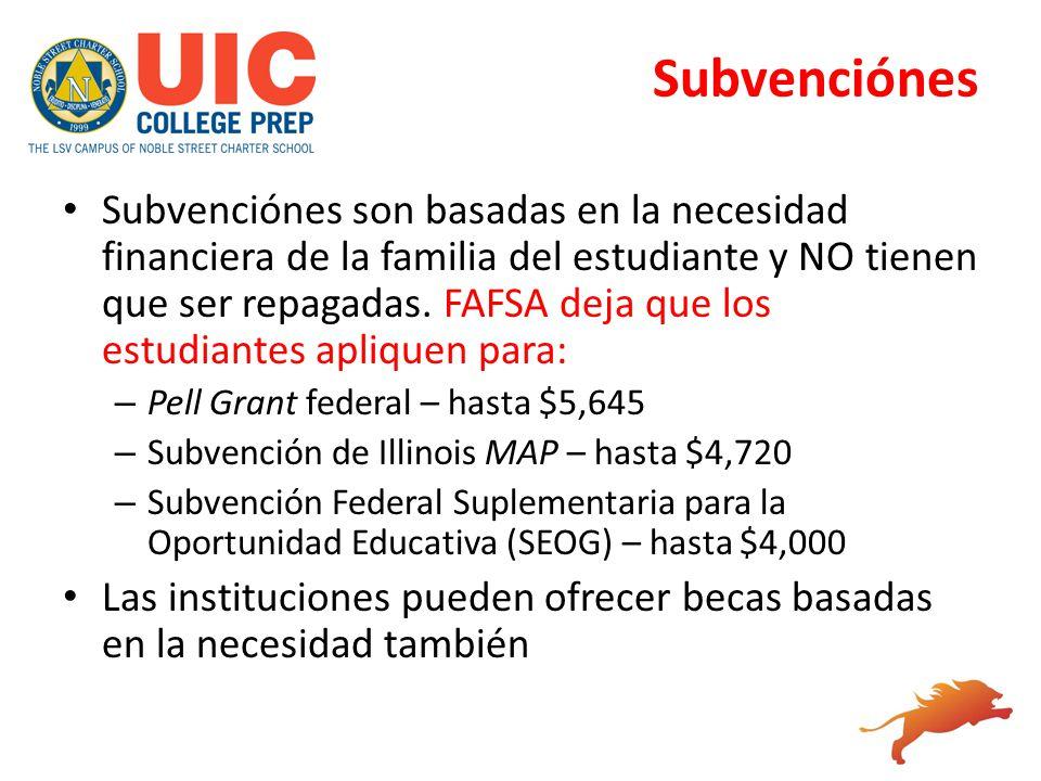 Subvenciónes Subvenciónes son basadas en la necesidad financiera de la familia del estudiante y NO tienen que ser repagadas. FAFSA deja que los estudi