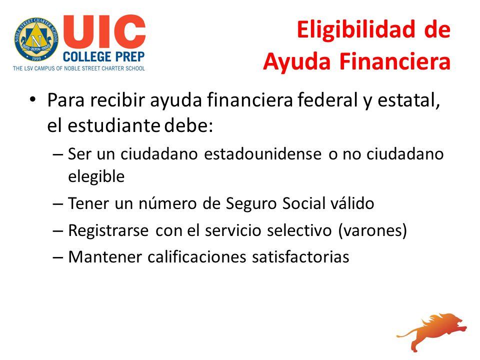 Eligibilidad de Ayuda Financiera Para recibir ayuda financiera federal y estatal, el estudiante debe: – Ser un ciudadano estadounidense o no ciudadano