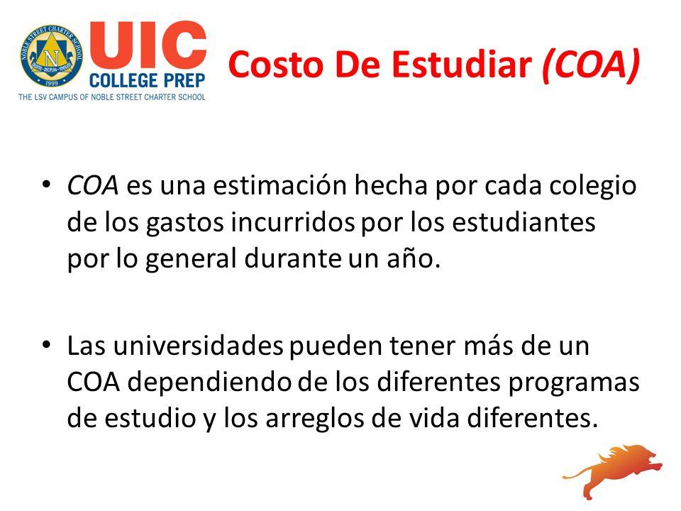 Costo De Estudiar (COA) COA es una estimación hecha por cada colegio de los gastos incurridos por los estudiantes por lo general durante un año. Las u