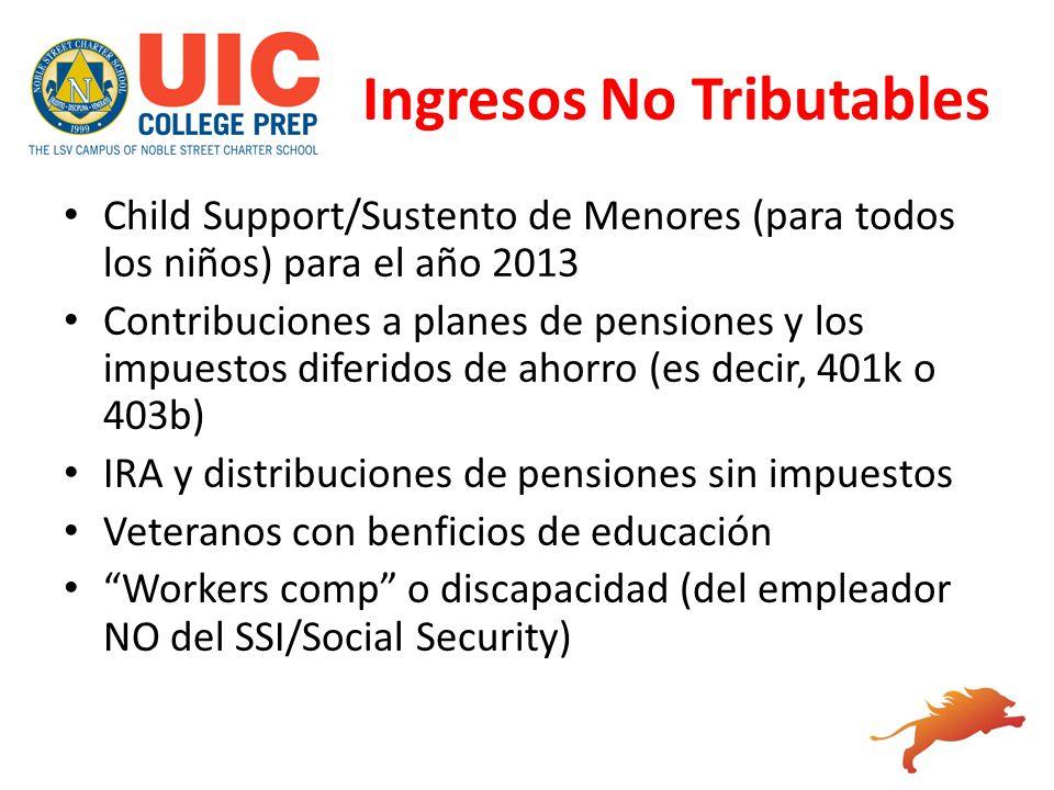 Ingresos No Tributables Child Support/Sustento de Menores (para todos los niños) para el año 2013 Contribuciones a planes de pensiones y los impuestos