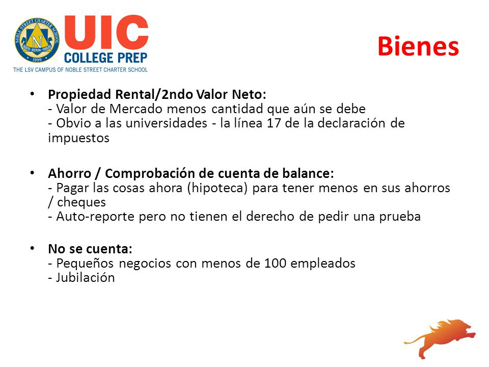 Bienes Propiedad Rental/2ndo Valor Neto: - Valor de Mercado menos cantidad que aún se debe - Obvio a las universidades - la línea 17 de la declaración