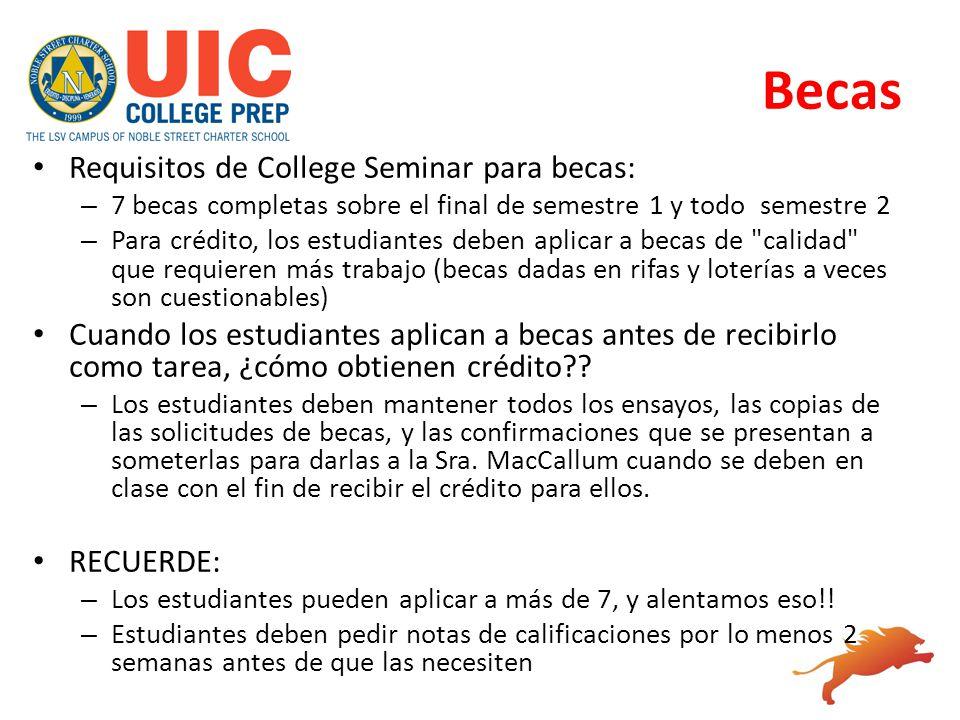 Becas Requisitos de College Seminar para becas: – 7 becas completas sobre el final de semestre 1 y todo semestre 2 – Para crédito, los estudiantes deb