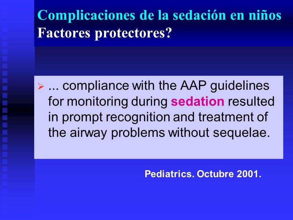 Complicaciones de la sedación en niños Factores protectores?...