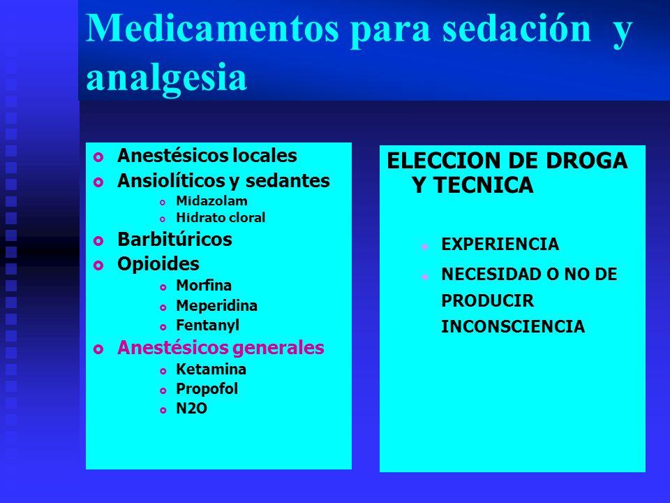 Medicamentos para sedación y analgesia Anestésicos locales Ansiolíticos y sedantes Midazolam Hidrato cloral Barbitúricos Opioides Morfina Meperidina Fentanyl Anestésicos generales Ketamina Propofol N2O ELECCION DE DROGA Y TECNICA EXPERIENCIA NECESIDAD O NO DE PRODUCIR INCONSCIENCIA