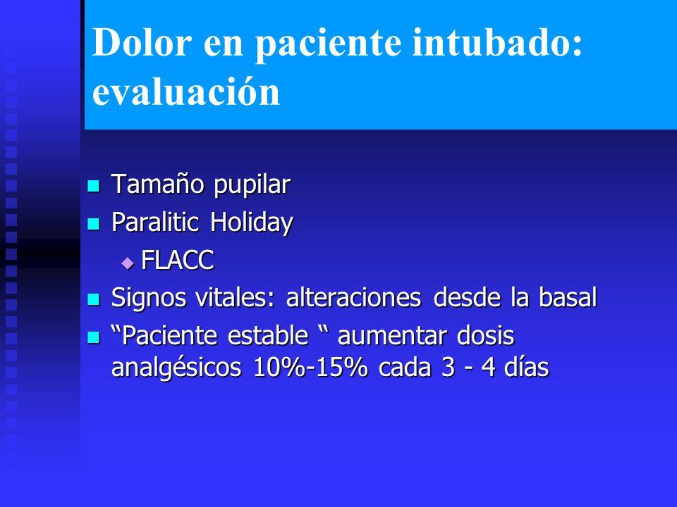 Dolor en paciente intubado: evaluación Tamaño pupilar Tamaño pupilar Paralitic Holiday Paralitic Holiday FLACC FLACC Signos vitales: alteraciones desde la basal Signos vitales: alteraciones desde la basal Paciente estable aumentar dosis analgésicos 10%-15% cada 3 - 4 días Paciente estable aumentar dosis analgésicos 10%-15% cada 3 - 4 días