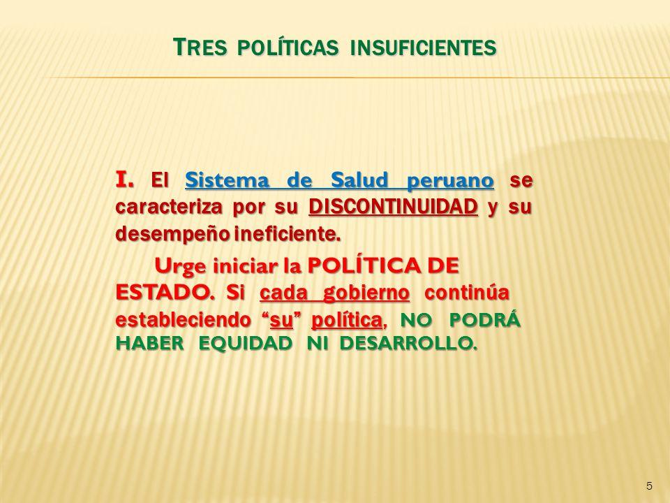 I.El Sistema de Salud peruano se caracteriza por su DISCONTINUIDAD y su desempeño ineficiente.