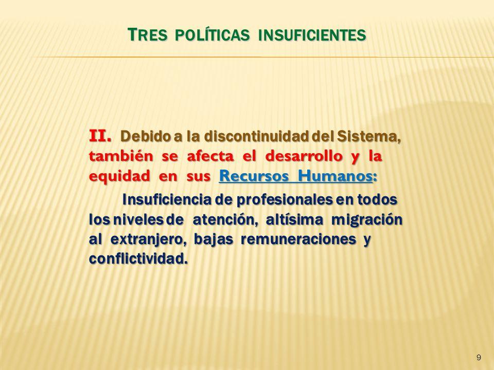 II. Debido a la discontinuidad del Sistema, también se afecta el desarrollo y la equidad en sus Recursos Humanos: Insuficiencia de profesionales en to