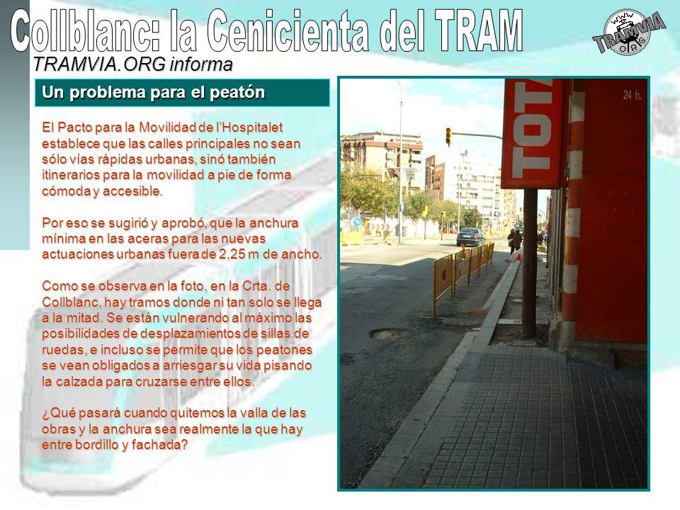 TRAMVIA.ORG informa Un problema para el peatón Una acera estrecha favorece accidentes entre peatones y vehículos.