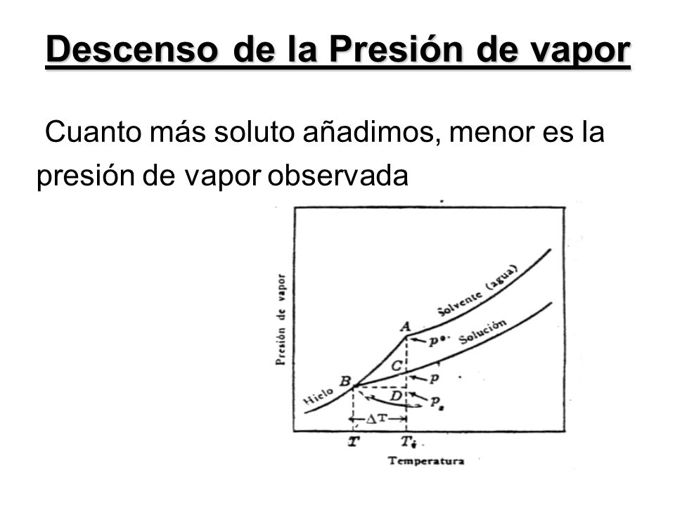 Cuanto más soluto añadimos, menor es la presión de vapor observada Descenso de la Presión de vapor