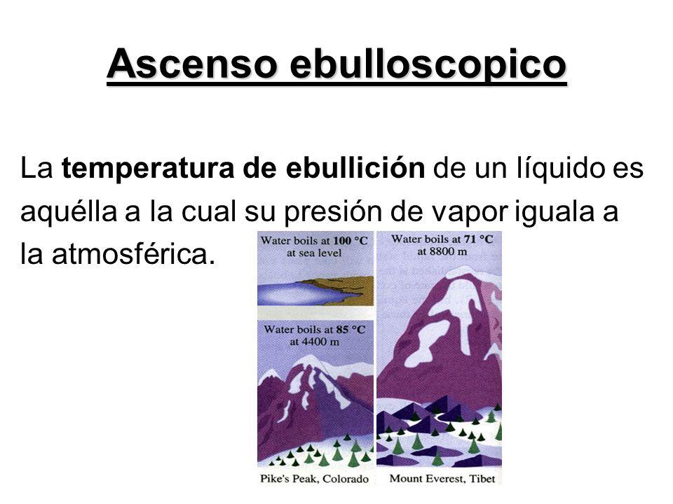 Ascenso ebulloscopico La temperatura de ebullición de un líquido es aquélla a la cual su presión de vapor iguala a la atmosférica.