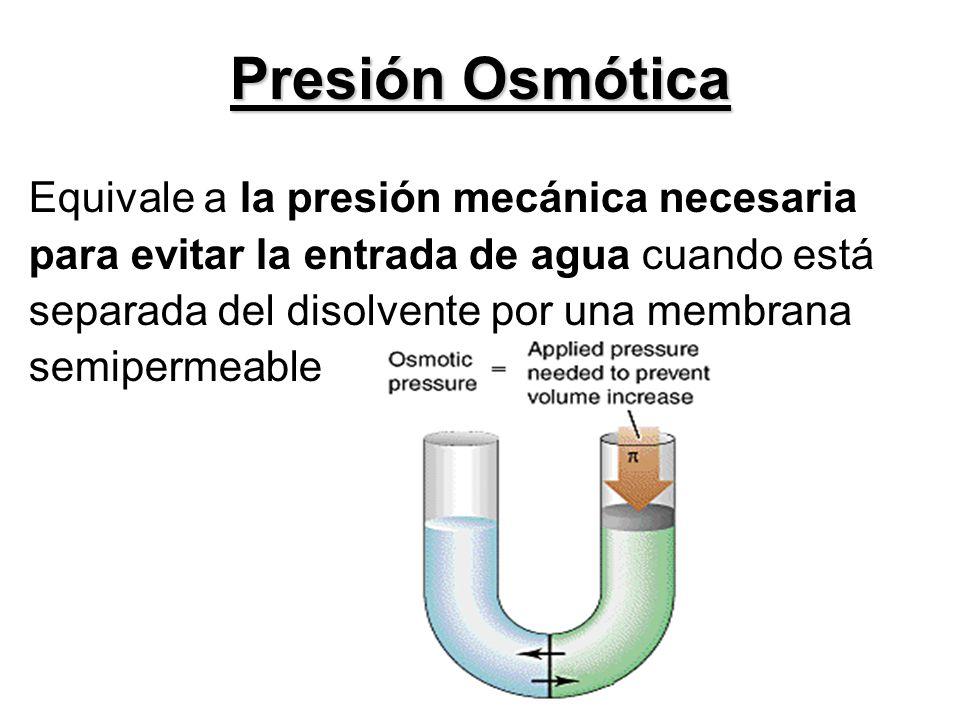Presión Osmótica Equivale a la presión mecánica necesaria para evitar la entrada de agua cuando está separada del disolvente por una membrana semiperm