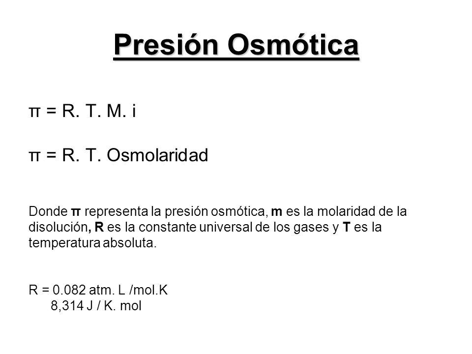 π = R. T. M. i π = R. T. Osmolaridad Donde π representa la presión osmótica, m es la molaridad de la disolución, R es la constante universal de los ga