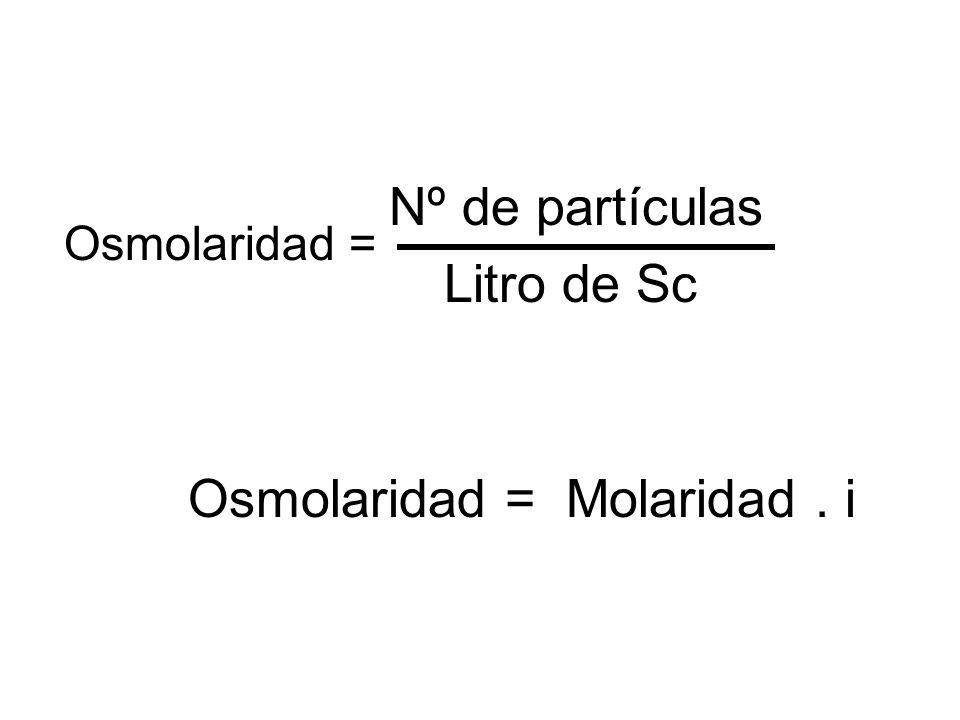Nº de partículas Litro de Sc Osmolaridad = Molaridad. i Osmolaridad =