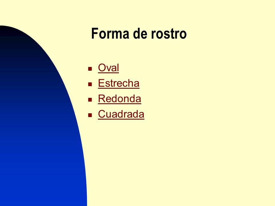 Forma de rostro Oval Estrecha Estrecha Redonda Cuadrada