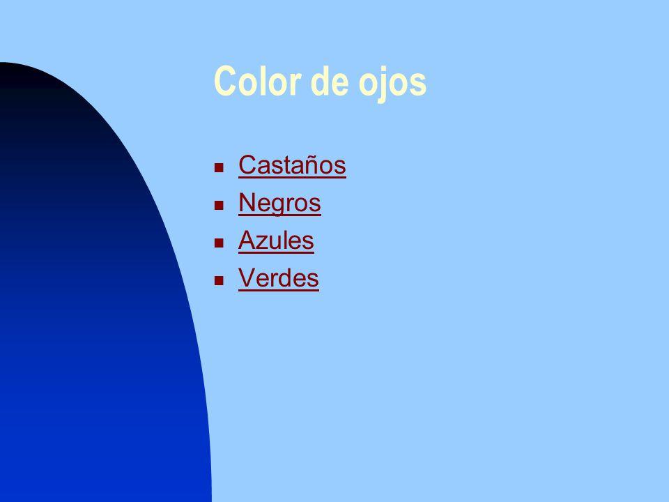 Color de ojos Castaños Castaños Negros Negros Azules Azules Verdes