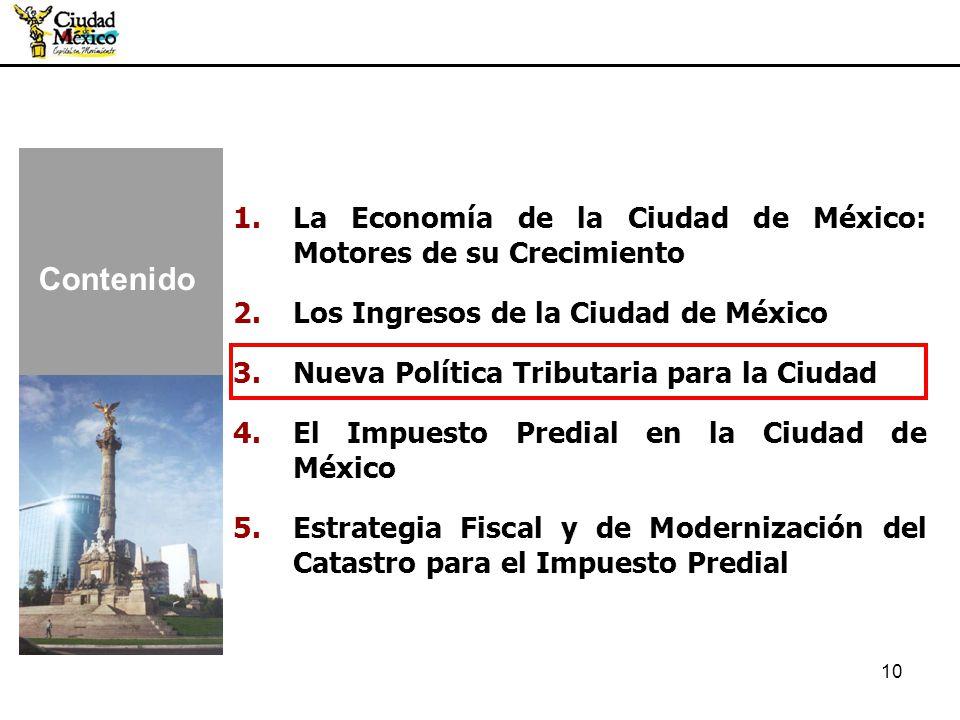10 1.La Economía de la Ciudad de México: Motores de su Crecimiento 2.Los Ingresos de la Ciudad de México 3.Nueva Política Tributaria para la Ciudad 4.
