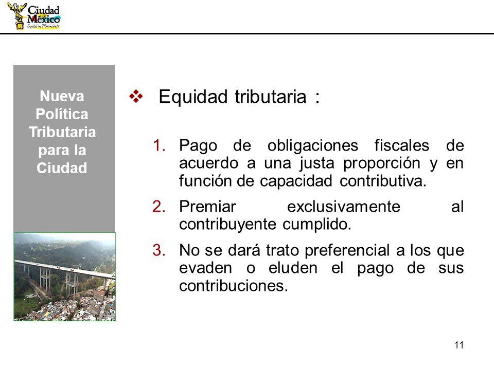 11 Equidad tributaria : 1.Pago de obligaciones fiscales de acuerdo a una justa proporción y en función de capacidad contributiva. 2.Premiar exclusivam