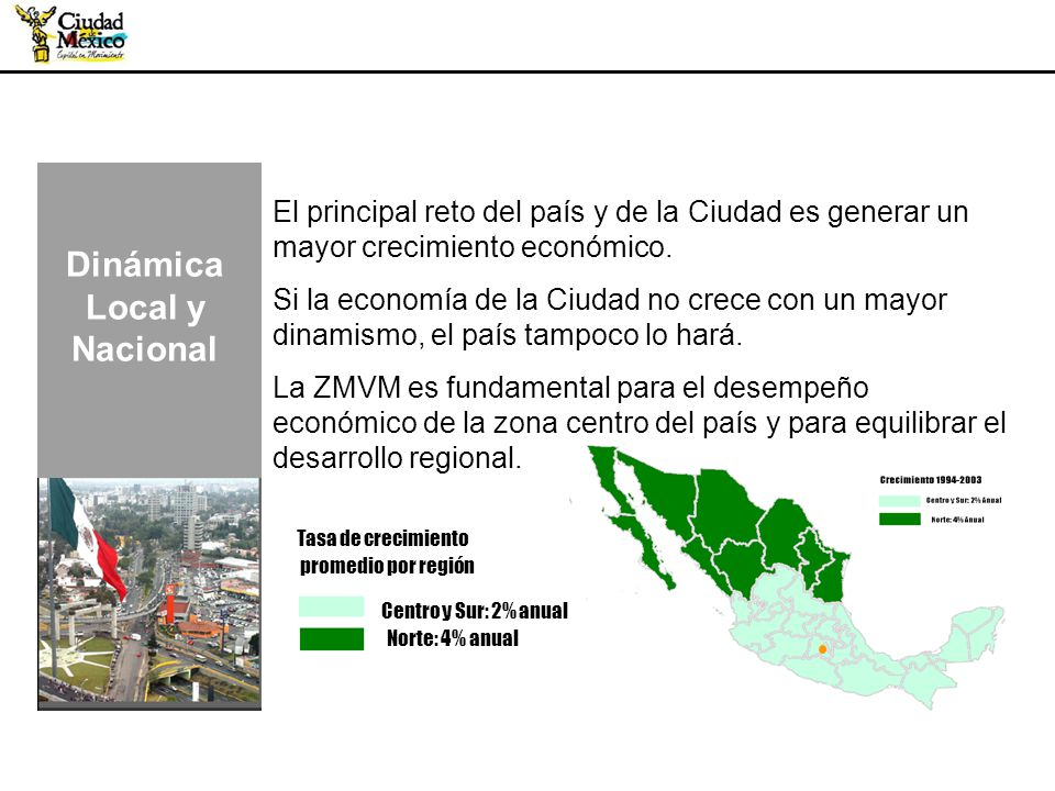 4 El principal reto del país y de la Ciudad es generar un mayor crecimiento económico. Si la economía de la Ciudad no crece con un mayor dinamismo, el