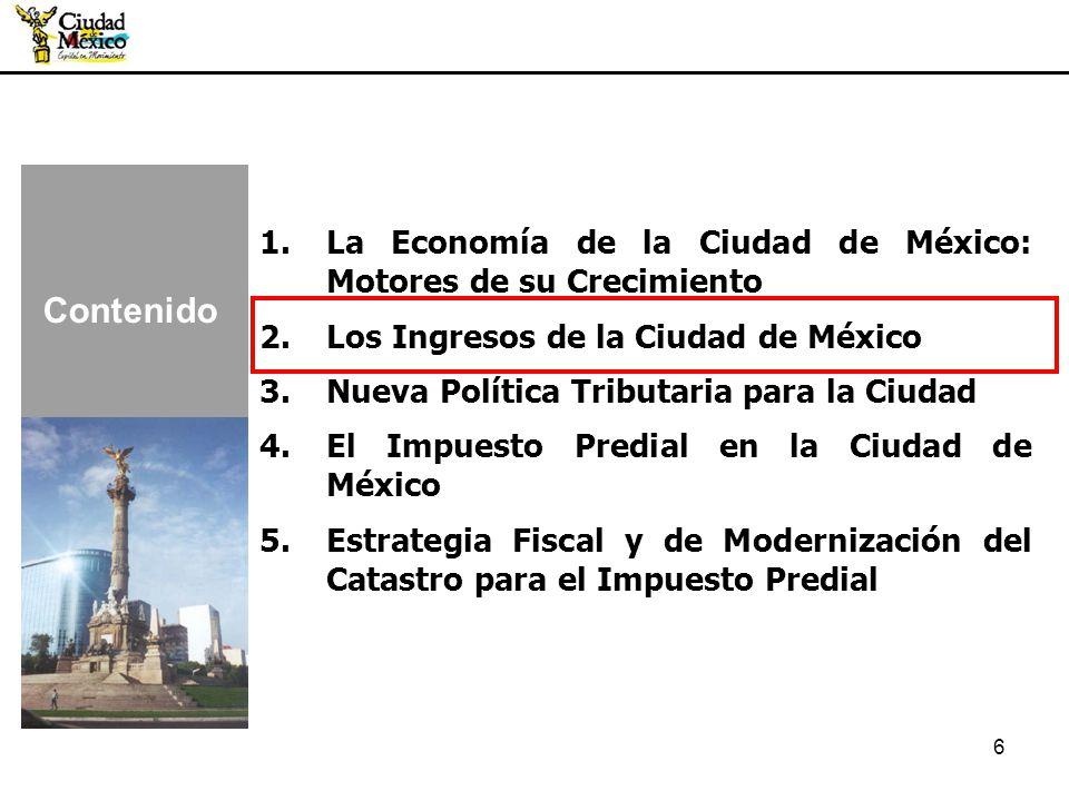 1.La Economía de la Ciudad de México: Motores de su Crecimiento 2.Los Ingresos de la Ciudad de México 3.Nueva Política Tributaria para la Ciudad 4.El