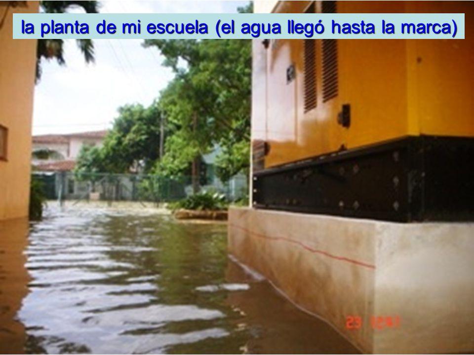 la planta de mi escuela (el agua llegó hasta la marca)