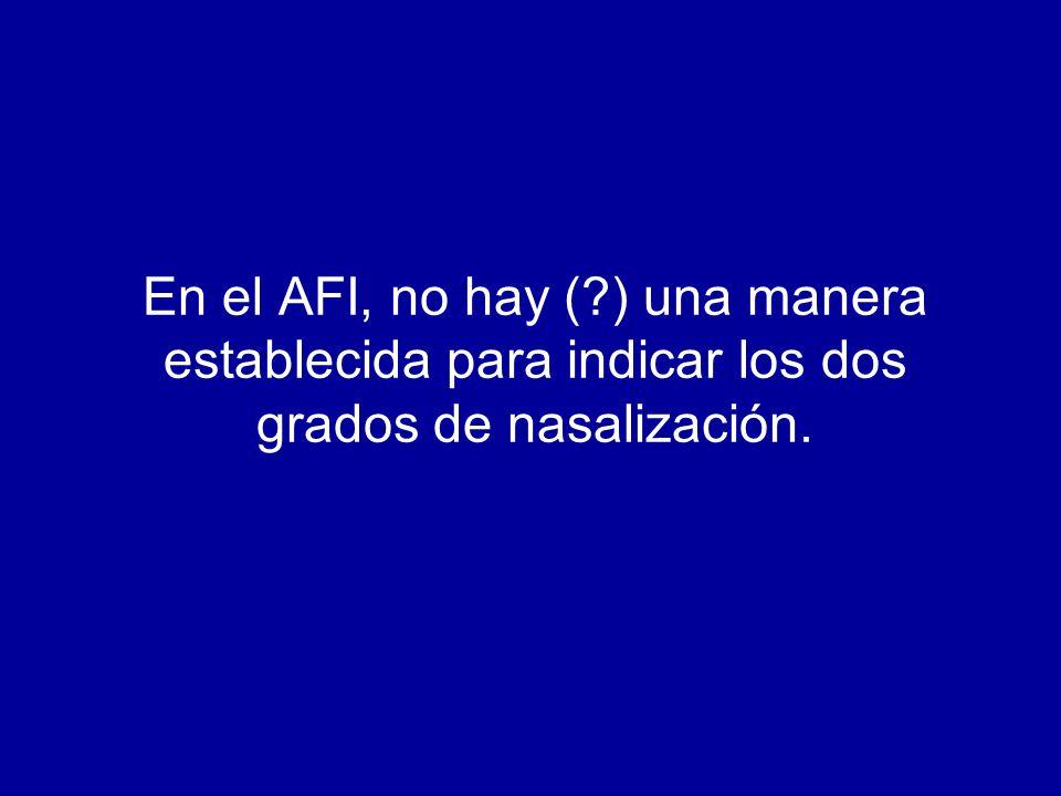 En el AFI, no hay (?) una manera establecida para indicar los dos grados de nasalización.