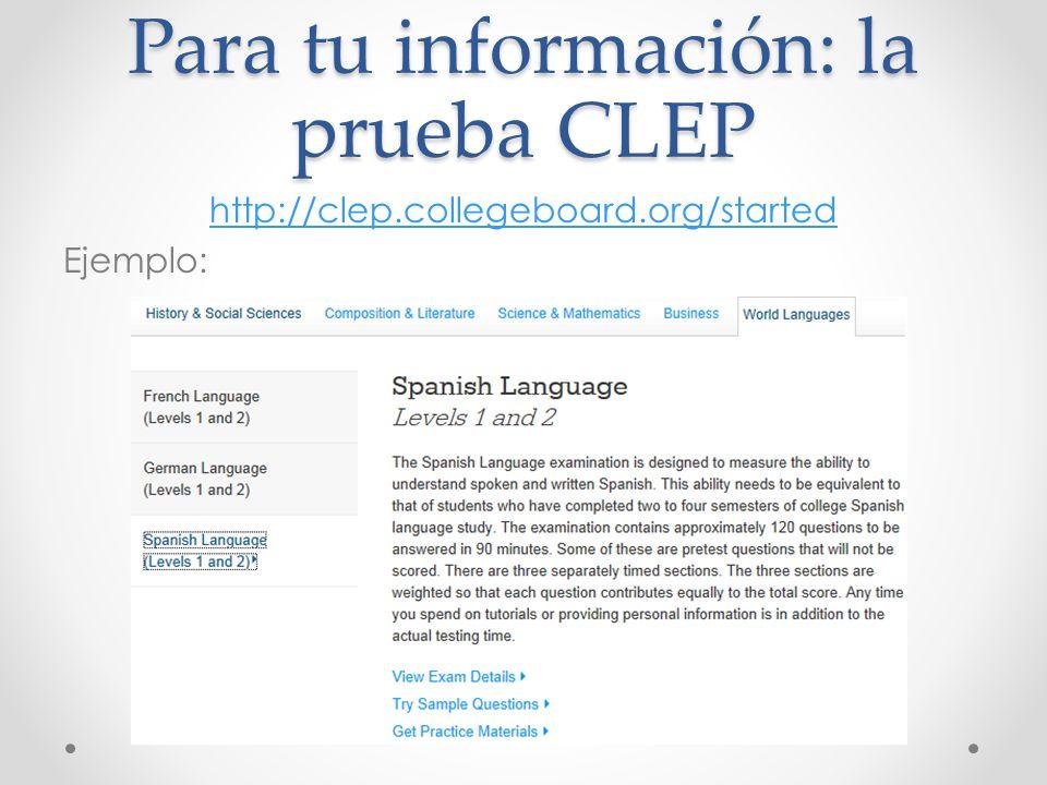 Para tu información: la prueba CLEP http://clep.collegeboard.org/started Ejemplo:
