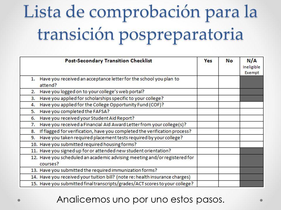 Lista de comprobación para la transición pospreparatoria Analicemos uno por uno estos pasos.