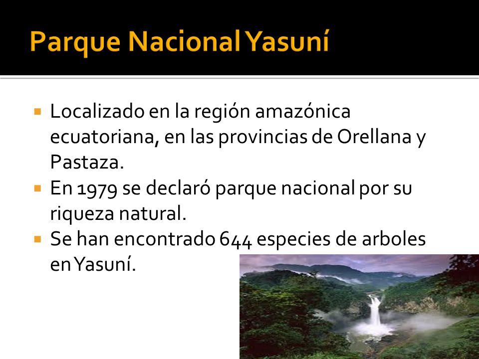 Localizado en la región amazónica ecuatoriana, en las provincias de Orellana y Pastaza. En 1979 se declaró parque nacional por su riqueza natural. Se