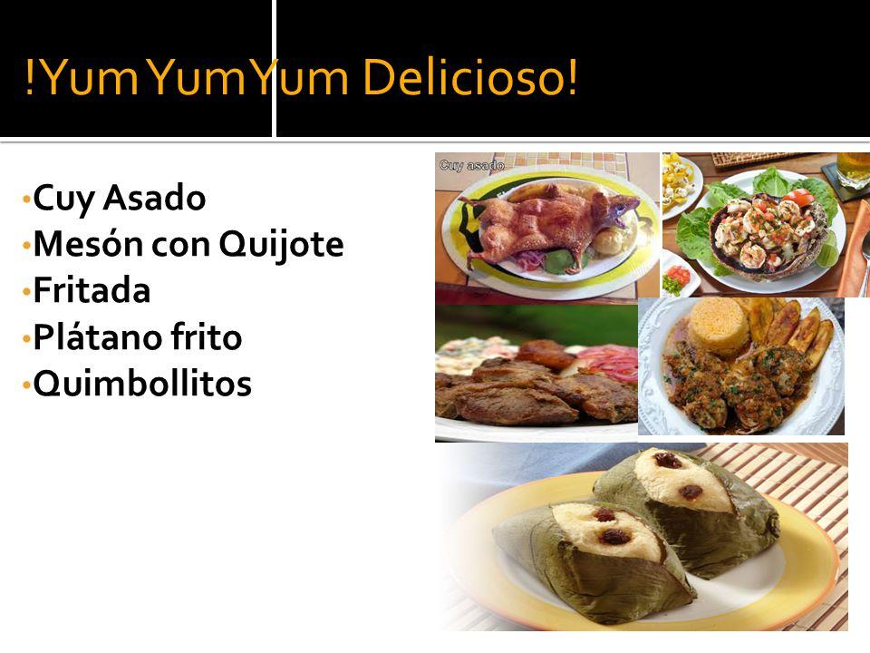 !Yum YumYum Delicioso! Cuy Asado Mesón con Quijote Fritada Plátano frito Quimbollitos