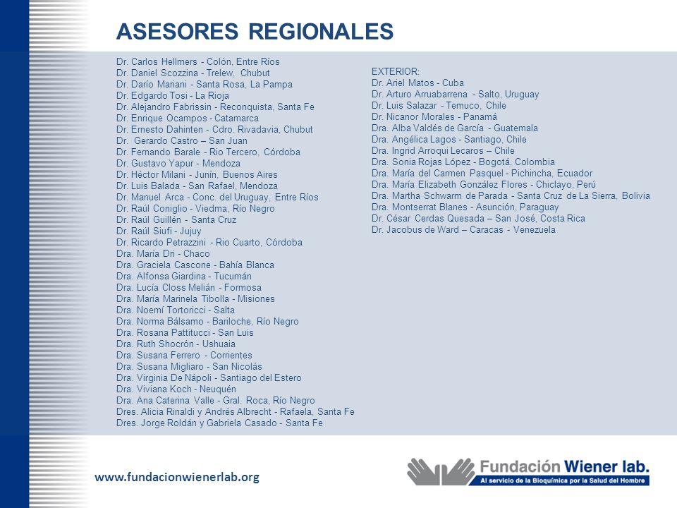 www.fundacionwienerlab.org ASESORES REGIONALES Dr. Carlos Hellmers - Colón, Entre Ríos Dr. Daniel Scozzina - Trelew, Chubut Dr. Darío Mariani - Santa