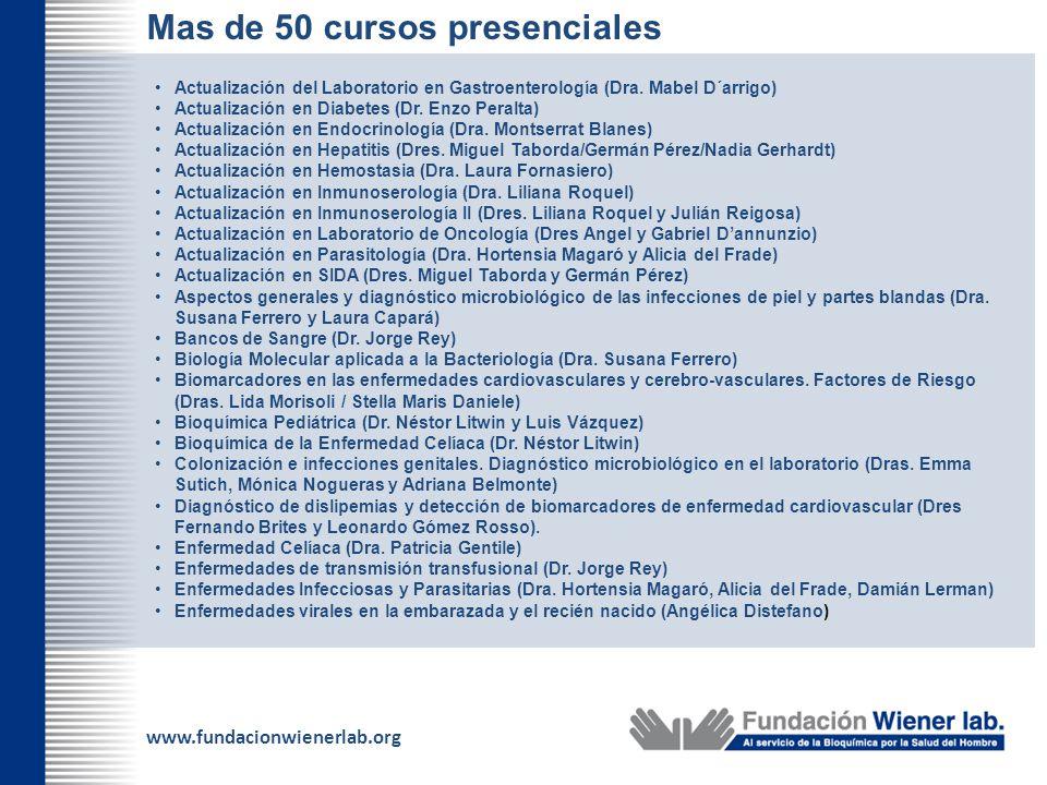 www.fundacionwienerlab.org Mas de 50 cursos presenciales Actualización del Laboratorio en Gastroenterología (Dra. Mabel D´arrigo) Actualización en Dia