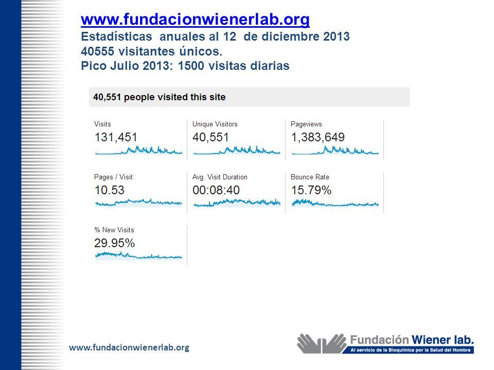 www.fundacionwienerlab.org Estadísticas anuales al 12 de diciembre 2013 40555 visitantes únicos. Pico Julio 2013: 1500 visitas diarias