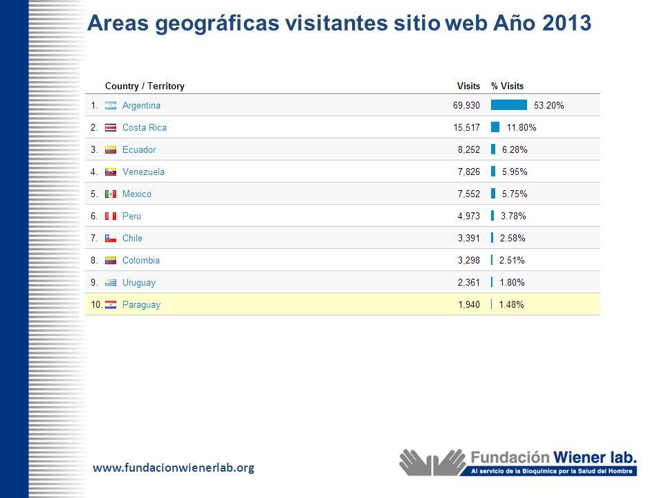 www.fundacionwienerlab.org Areas geográficas visitantes sitio web Año 2013