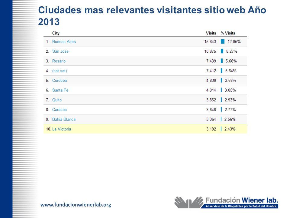 www.fundacionwienerlab.org Ciudades mas relevantes visitantes sitio web Año 2013