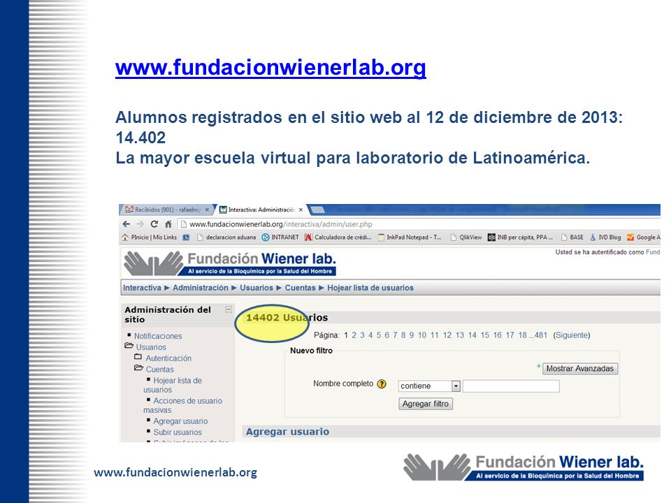 www.fundacionwienerlab.org Alumnos registrados en el sitio web al 12 de diciembre de 2013: 14.402 La mayor escuela virtual para laboratorio de Latinoa