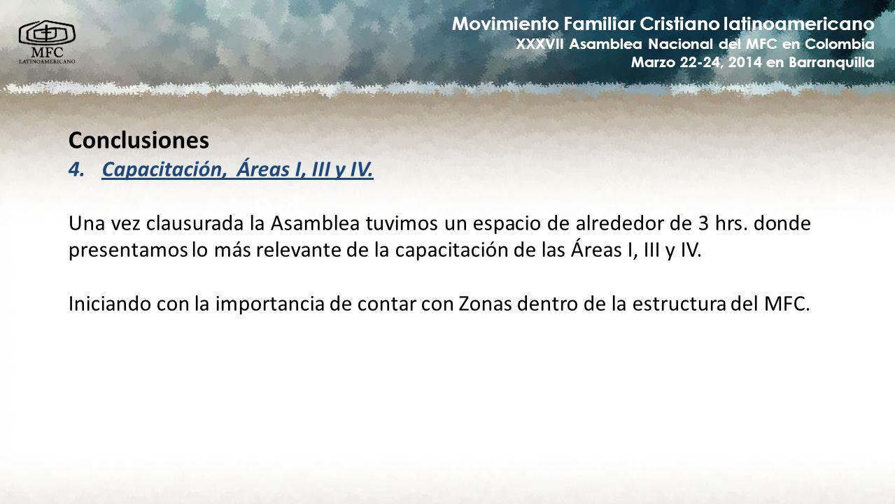 Movimiento Familiar Cristiano latinoamericano XXXVII Asamblea Nacional del MFC en Colombia Marzo 22-24, 2014 en Barranquilla Agenda de las Reuniones de trabajo de los PRELA Miércoles 19-marzo, 2014 12:00 hrs – 23:00 hrsTraslado Monterrey (México) – Barranquillas (Colombia) Viernes 21-marzo, 2014 15:30 hrs – 18:30 hrsReunión con Equipo Coordinador Nacional Sede (ECNS) 19:00 hrs – 21:30 hrsReunión con membresía de la Diócesis anfitriona 21:30 hrs – 22:30 hrsCena Sábado 22-marzo, 2014 8:00 hrs – 20:30 hrsXXXVII Asamblea Nacional Domingo 23-marzo, 2014 8:00 hrs – 11:30 hrsXXXVII Asamblea Nacional 11:30 hrs – 13:30 hrsCapacitación por PRELA (enfocándose a las Área I, III y IV) 13:30 hrs – 14:30 hrsAlmuerzo (comida) 14:30 hrs – 16:00 hrsCapacitación (continuación) 16:00 hrs – 17:00 hrsMisa Lunes 24-marzo, 2014 5:00 hrs – 14:00 hrsRetorno a Casa