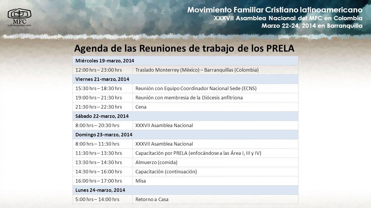 Movimiento Familiar Cristiano latinoamericano XXXVII Asamblea Nacional del MFC en Colombia Marzo 22-24, 2014 en Barranquilla Agenda de las Reuniones d