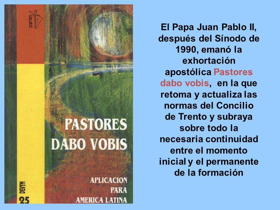 El Papa Juan Pablo II, después del Sínodo de 1990, emanó la exhortación apostólica Pastores dabo vobis, en la que retoma y actualiza las normas del Co